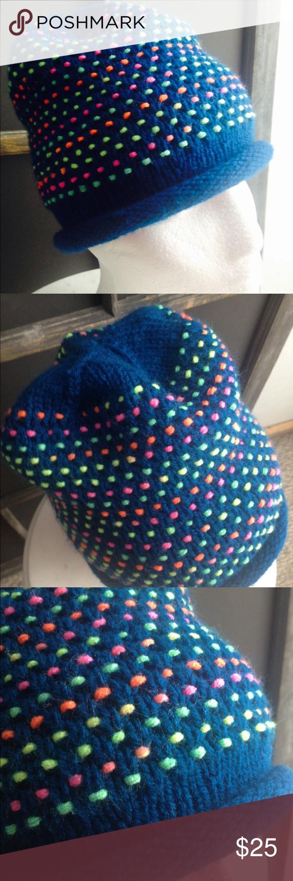 aa4374d990e VINTAGE Knit Neon Teal Winter Beanie Cap Hat