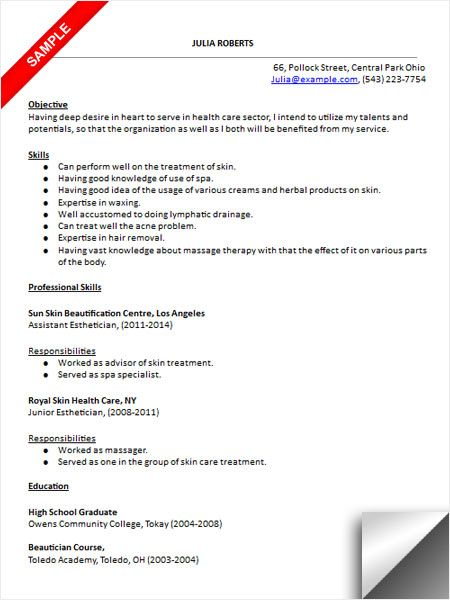 Esthetician Resume Sample resume in 2019 Esthetician resume