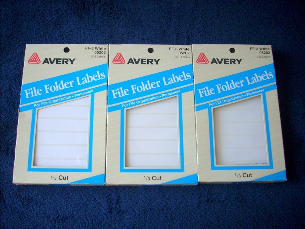 avery ff 3 05202 white file folder labels 1 3 cut 248 3 packs for
