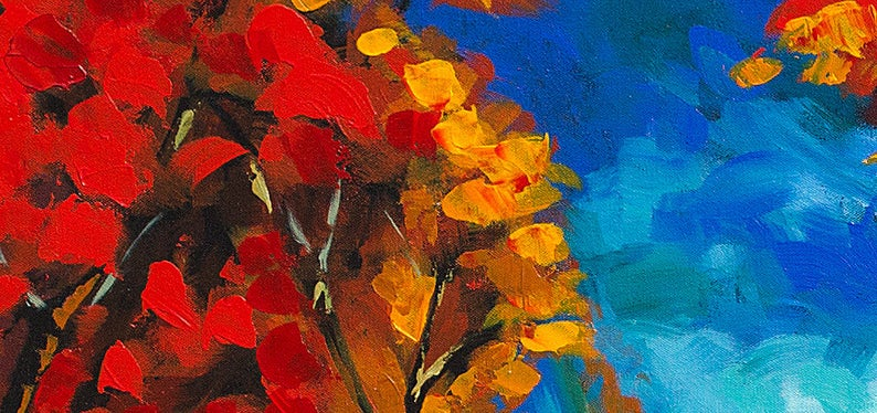 Landscape Forest Tree Painting Vibrant Color Large Canvas Etsy Tree Painting Painting Original Abstract Painting