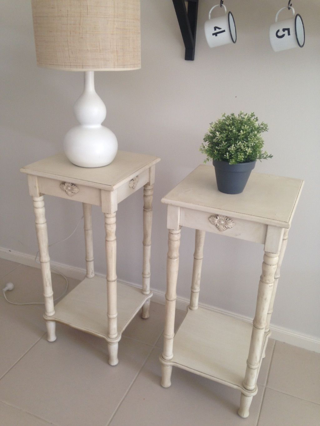 French Provincial Shabby Chic Distressed vintage bedside tables ...