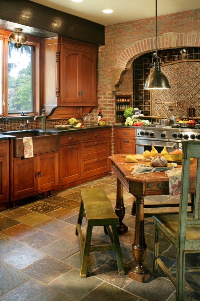 Kitchen With Brick Walls Multi Colored Slate Floor Custom Table Simple Period Kitchen Design 2018