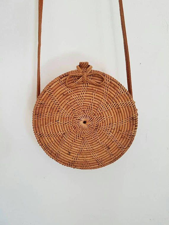 round rattan basket bag bohemian round shoulder bag round. Black Bedroom Furniture Sets. Home Design Ideas