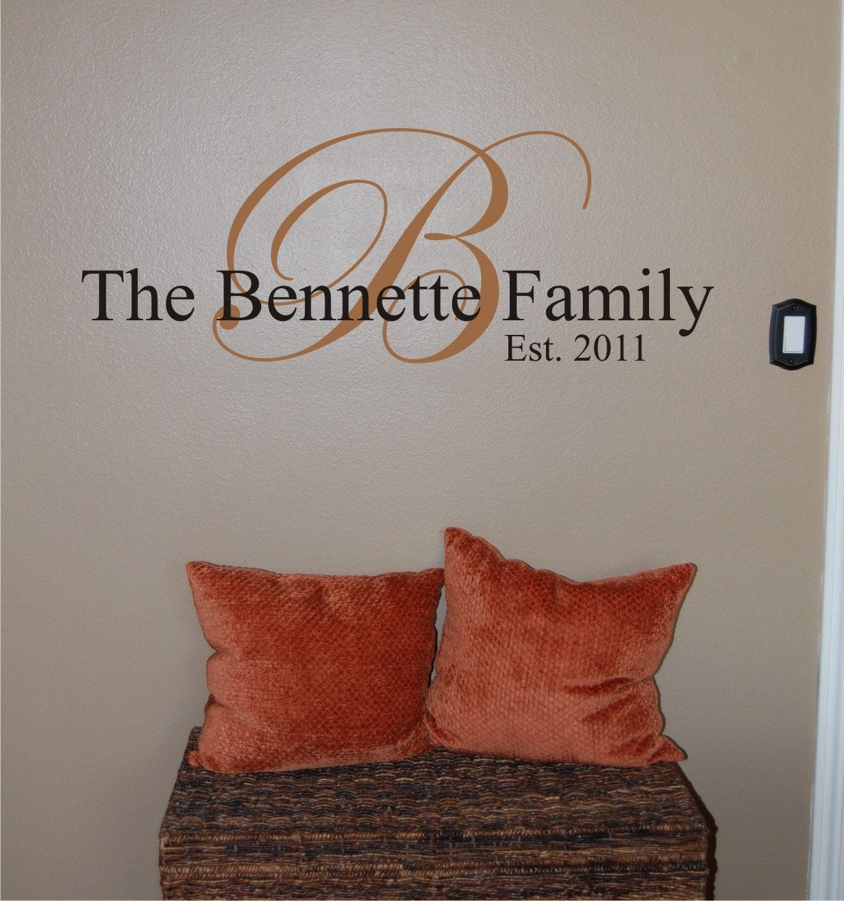 Vinyl Wall Decal Family Monogram Bennette By Homesweetwalls Home - Monogram vinyl wall decals