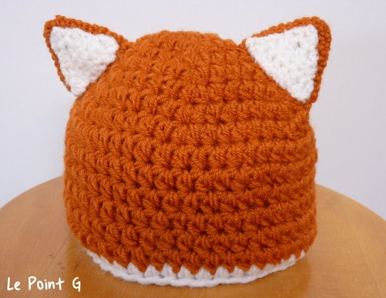 09cf655fb17 Patron+Bonnet+Renard+au+crochet+(bébé+et+enfant )+de+Le+Point+G+sur+DaWanda.com