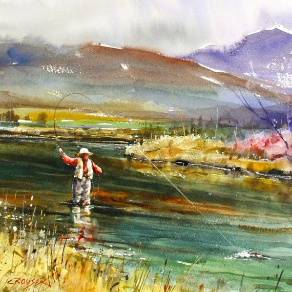 Fly Fishing Watercolor Print By Dean Crouser Fish Art Fly