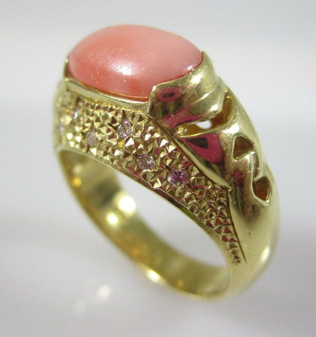 DESIGNER 18 KT Yellow Gold Angel Skin Coral Diamond Encrusted Ring Sz 5 at www.ShopLindasStuff.com