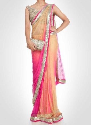 Pink And Cream Zari Work Lace Border Stone Work Net Babarasi Silk Designer Sarees http://www.angelnx.com/