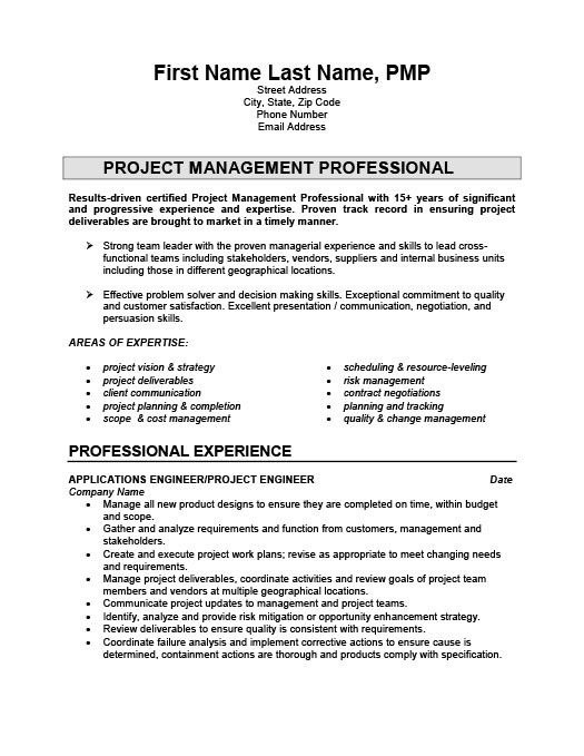 Project Engineer Resume Template Premium Resume Samples - project management sample resumes