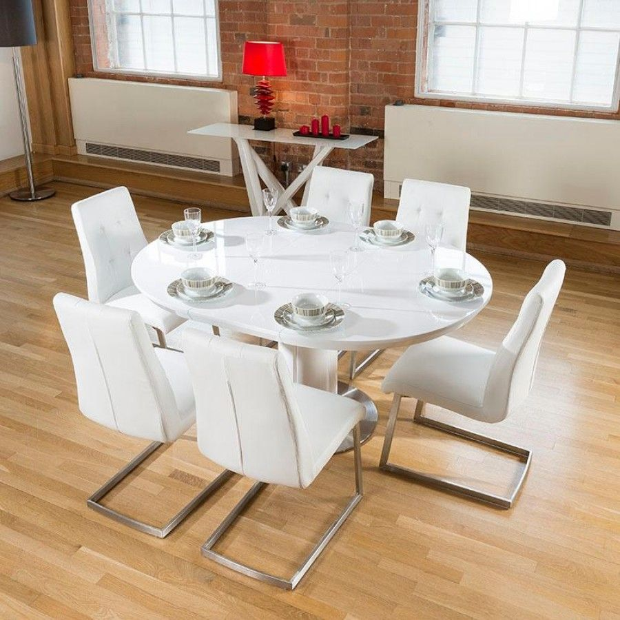 Dining Set White Gloss Round Oval Extending Table Plus 6 Comfy Chairs Lovely Quality With And Stainless Steel