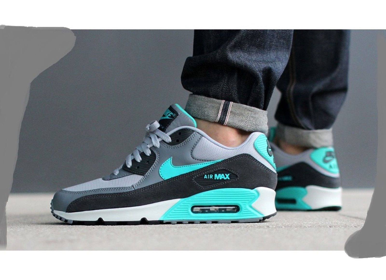 NIKE AIR MAX 90 ESSENTIAL HYPER JADE COOL GREY 537384 033 $135