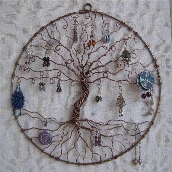 Earring Tree Copper Of Life Wall Hanging Art Jewelry Holder Organize And Display