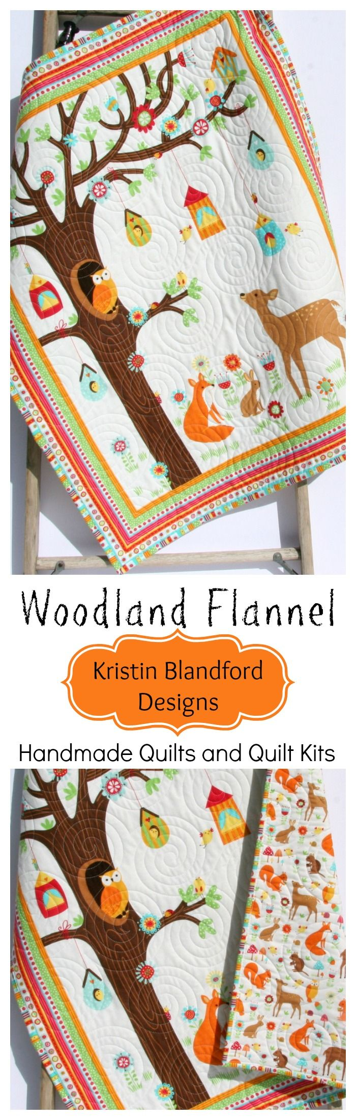 Baby Quilt Kit, FLANNEL, Woodland Nursery Bedding, Boy or
