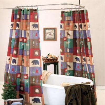 The Woods Bear Moose Cabin Shower Curtain Liner Set