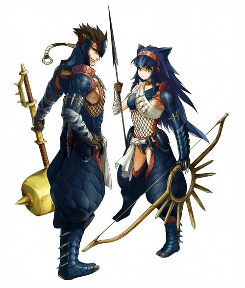 Nargacuga Armors Male And Female Hunters Mark Monster Hunter
