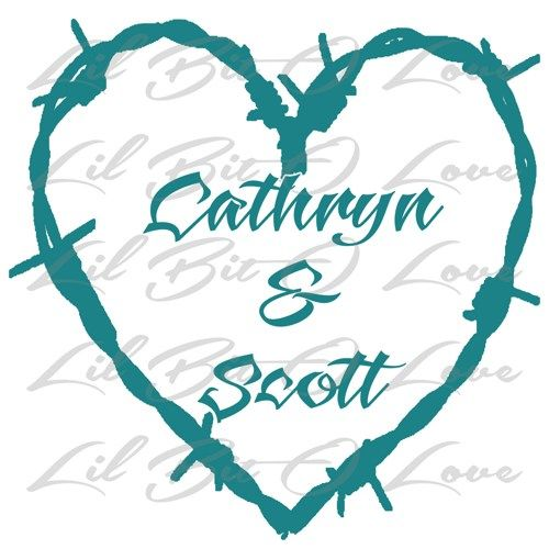 Custom Personalized Barbed Wire Heart With Names Inside Vinyl - Barb wire custom vinyl decals for trucks