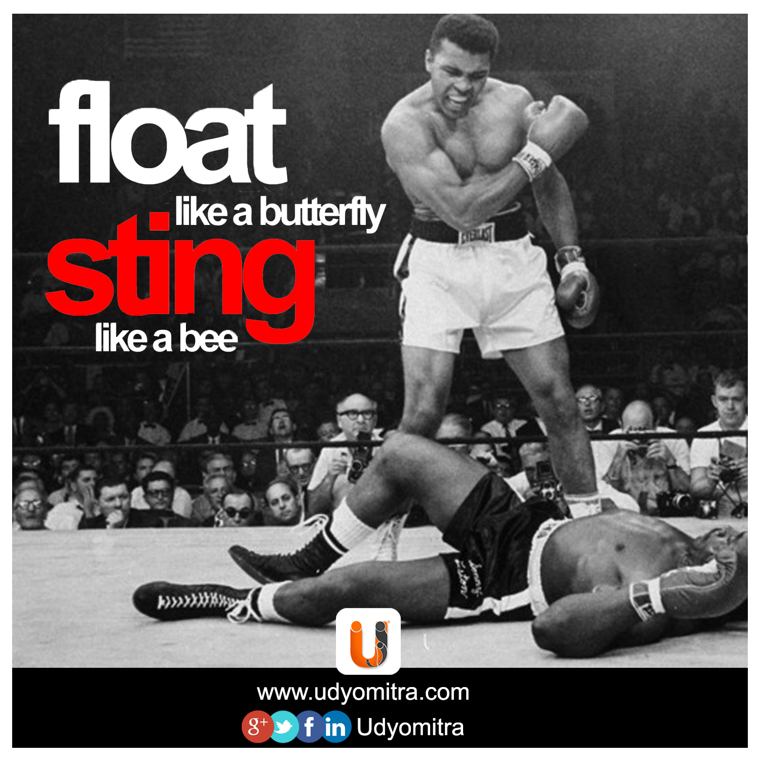 Float Like A Butterfly Sting Like A Bee Muhammad Ali Quote Of The