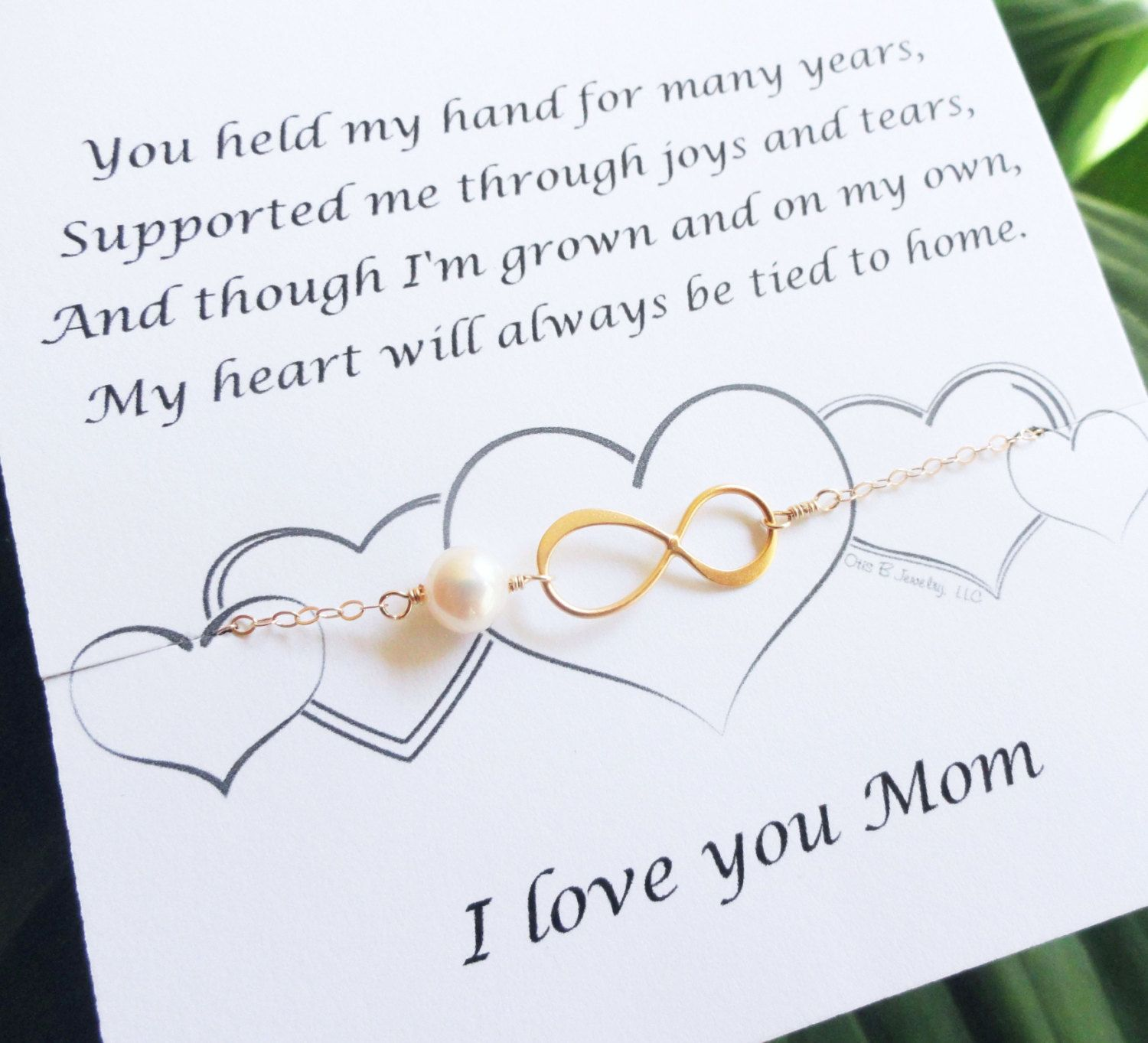 Gift For My Bride On Wedding Day: Mothers Card With GOLD Infinity Bracelet Pearl By