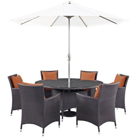 Modway Convene 8 Piece Outdoor Patio Dining Set, Multiple Colors, Orange