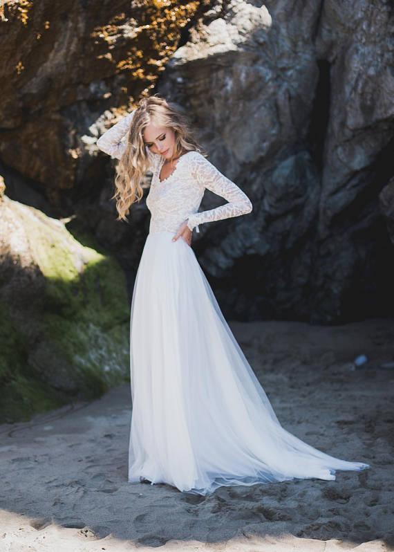 Long Sleeve Wedding Dress Open Back Wedding Dress Lace Sleeve
