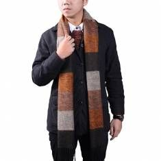 Mens Cashmere Imitation Super Stripe Warm Knitting Business Scarf