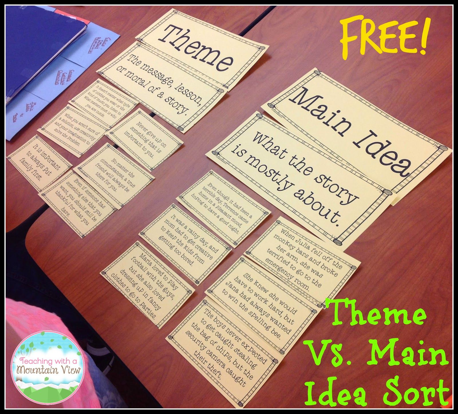 Teaching Main Idea Vs. Theme - Teaching with a Mountain View   Teaching  main idea [ 1445 x 1600 Pixel ]