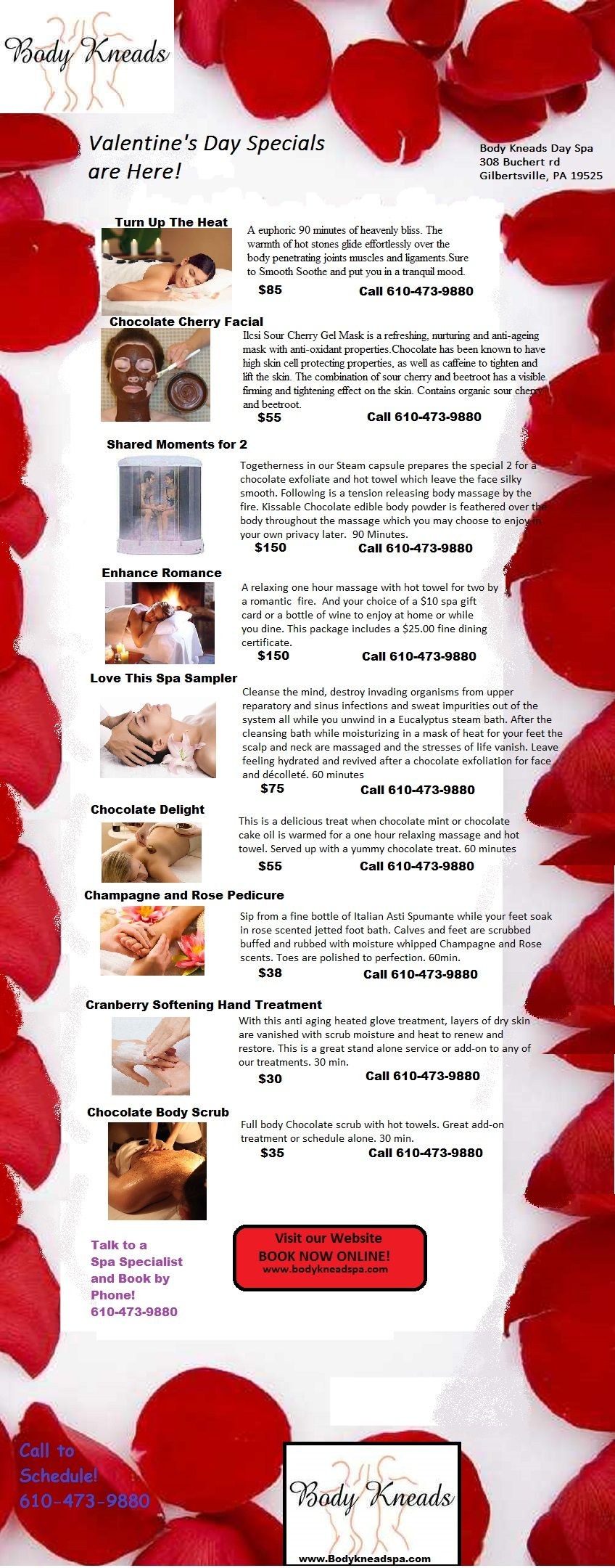 Valentine S Day Massage Specials Body Kneads Day Spa 610 473 9880 308 Buchert Rd Gilbertsville Pa 19525 Spa Specials Valentine Spa Day Spa Specials