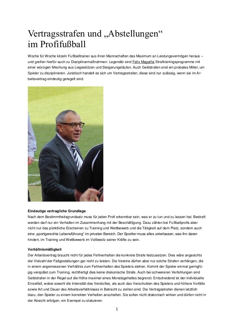 Vertragsstrafen Und Abstellungen Im Profifussball Vertrag Juristisch Strafe