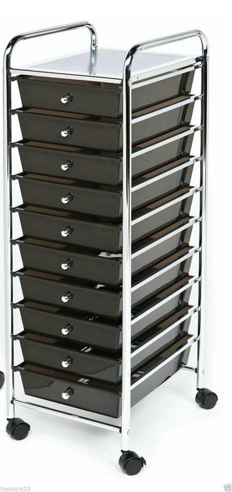 Chrome 10 Drawer Rolling Scrapbook Cart Storage Paper Organizer