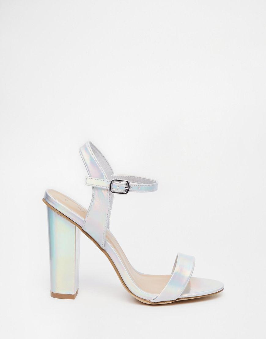 Image 2 - New Look - Revival - Sandales minimalistes à talons effet  hologramme - Argenté b5b701079551