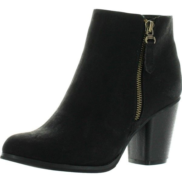 Women's Trendy Round Toe Side Zipper Buckle Strap Dress Stacked High Heels Booties Shoes