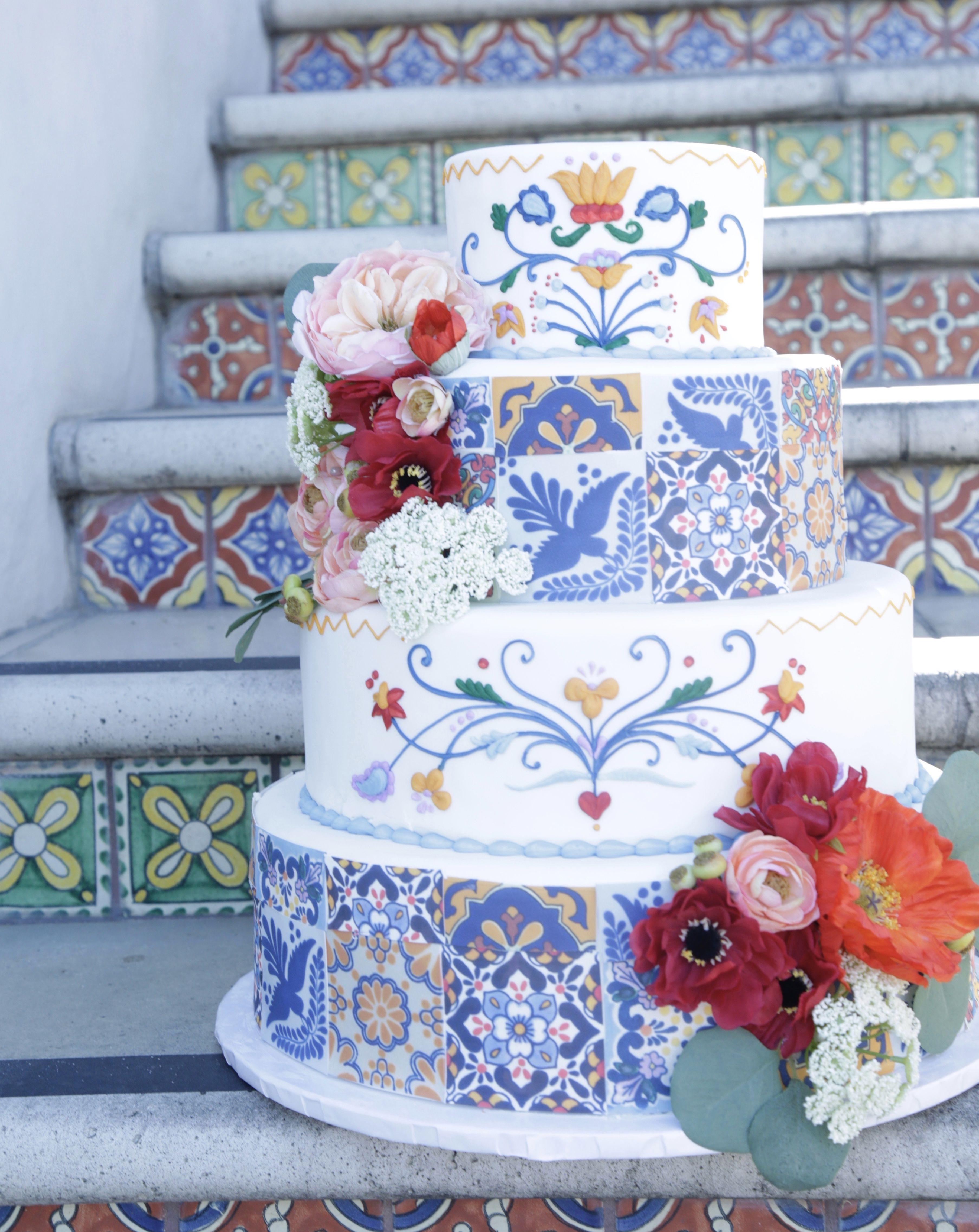 Spanish Tile Wedding Cake By Great Dane Bakery Italian Wedding