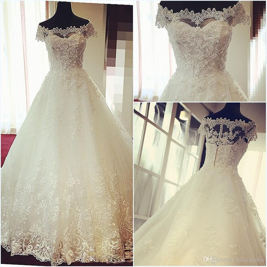Wedding dresses with train  High Waist Lace Ball Gown Wedding Dresses Strapless Cap Sleeves
