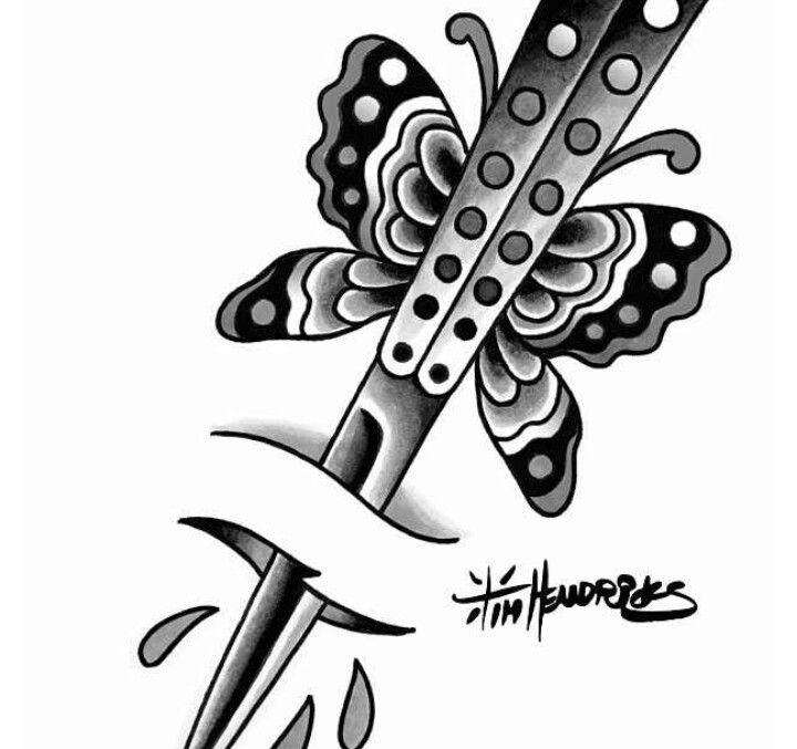 Butterfly Knife Knife Tattoo Butterfly Knife Butterfly