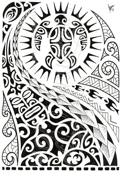 Latest Black Polynesian Half Sleeve Tattoo Design Traditional