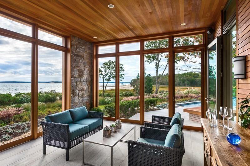 amenagement-veranda-moderne-vitree-bois-pierre-parement-salon ...