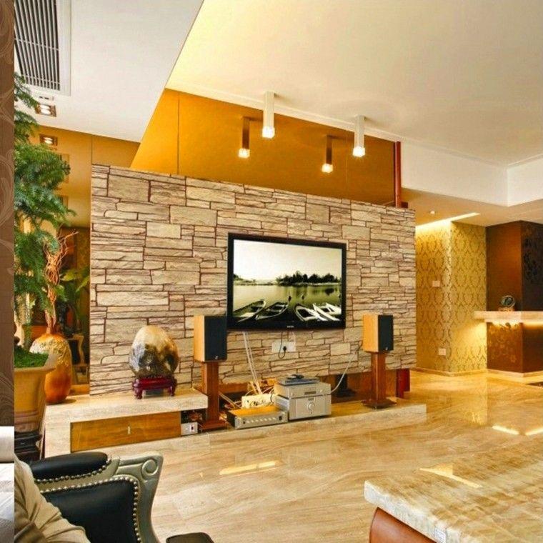 Piedra y madera para los revestimientos de paredes for Revestimiento pared salon