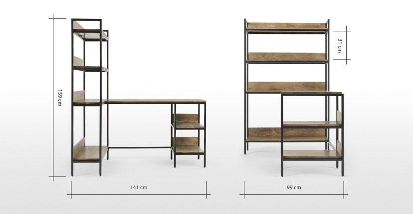 Lomond Corner Desk With Shelves Mango Wood And Black In 2020 Regal Schreibtisch Ecktisch Regal