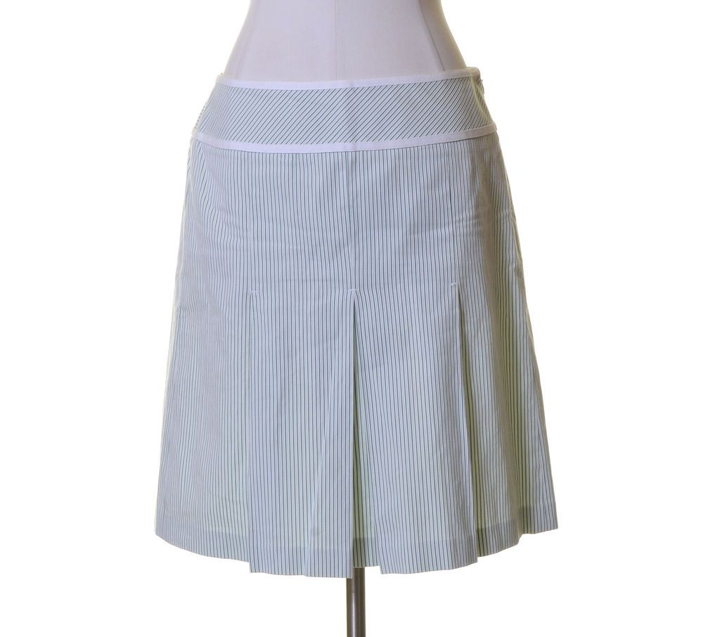 Ann Taylor LOFT White Green Striped A-line Cotton Skirt Size 8 ...