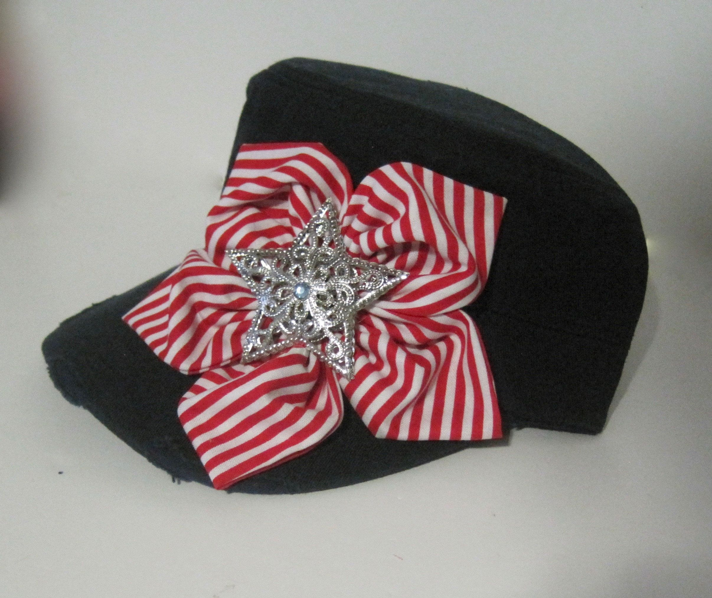 Women s Navy Distressed Cadet Military Hat with Red and White Petal Flower  and Star Accent Patriotic Hat Caps Fourth of July Hat Accessories by ... 7304d046ee