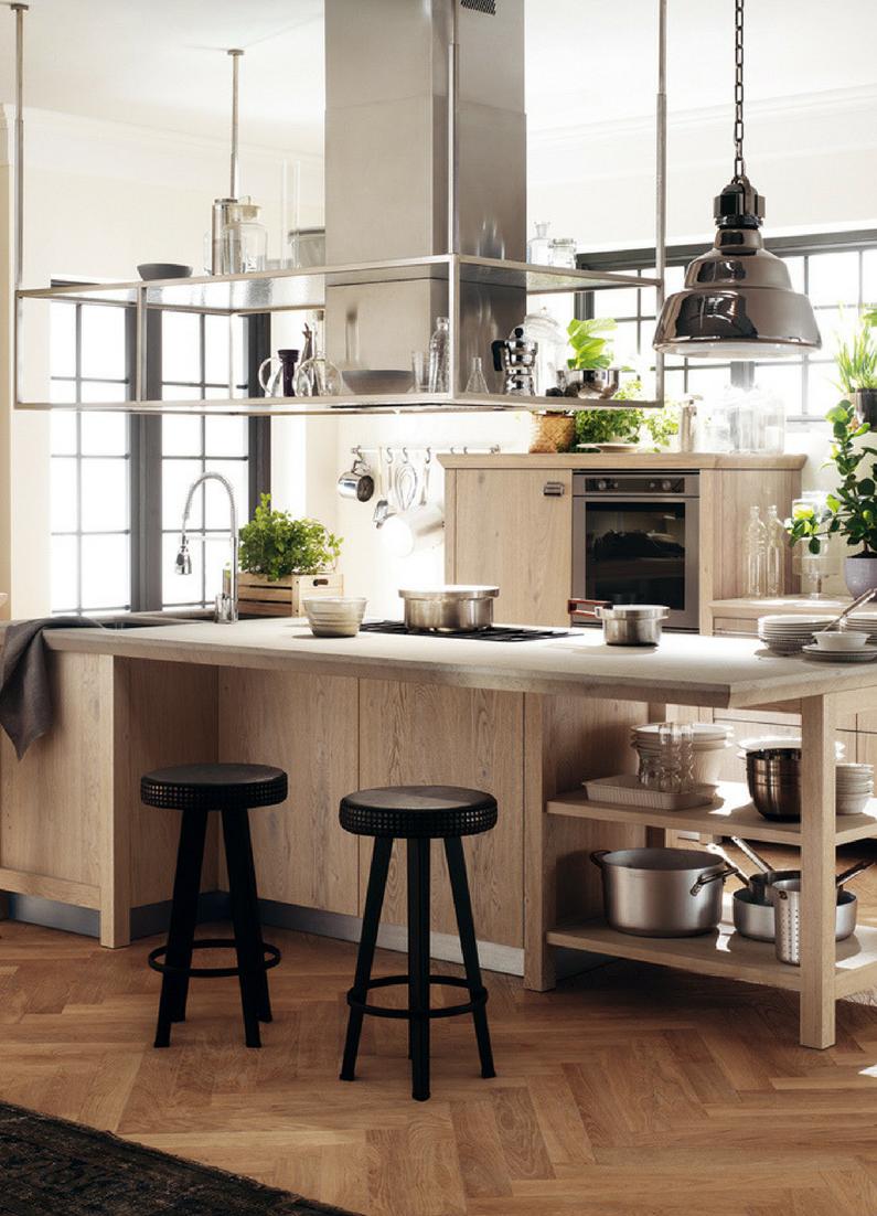 Designer küchen mit kochinsel holz  Schlichte Holz-Küche mit Kochinsel in modernem Design
