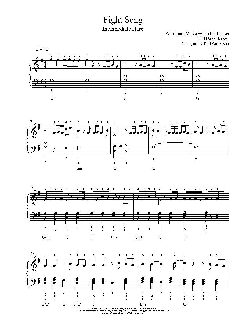 Fight Song By Rachel Platten Piano Sheet Music Intermediate