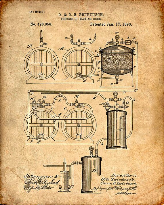 Patent Print - Beer Making Process Art Print from 1893 - Patent ...