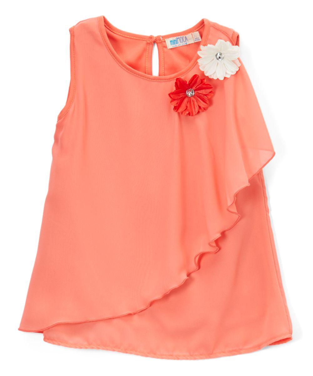 Neon Peach Chiffon Ruffle Tank - Girls