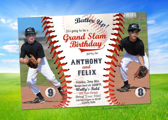 joint baseball birthday party invitation, double header baseball, Birthday invitations