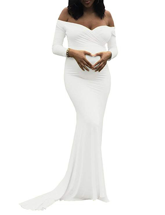 e38a1c1f4b632 Saslax Maternity Elegant Fitted Maternity Gown Long Sleeve Slim Fit Maxi  Photography Dress at Amazon Women's Clothing store: