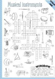 english worksheet musical instruments crossword english printables pinterest musical. Black Bedroom Furniture Sets. Home Design Ideas