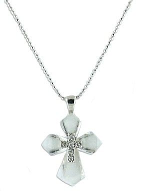 Cross Necklace with Stone Center in White