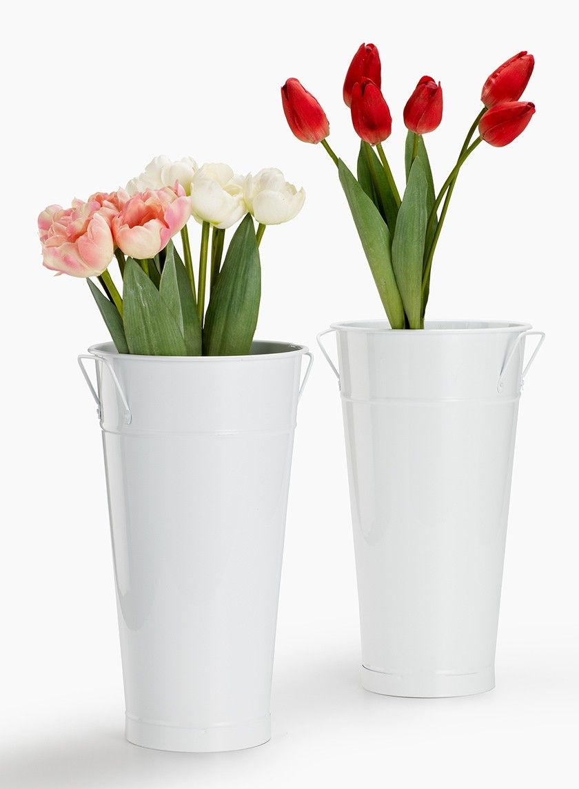 White french bucket flower containers rustic outdoor garden party metal flower buckets wholesale galvanized buckets mightylinksfo Gallery