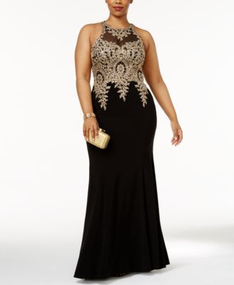 3c3f440ca21 Xscape Plus Size Embroidered Mesh Mermaid Gown  369.00 Dress to impress in Xscape s  plus-size mermaid gown embellished with regal embroidery.